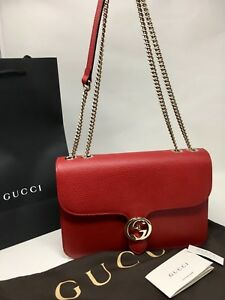 beca98b3693a NWT Authentic Gucci GG Marmont Leather Cross Body Shoulder Bag Red ...