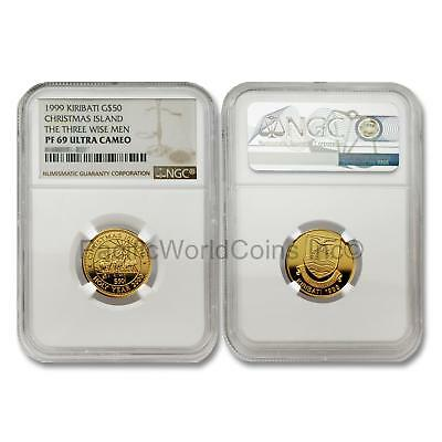 Kiribati 1999 Christmas Island Three Wise Men $50 Gold Ngc Pf69 Ultra Cameo