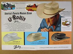 1959 Bailey U-Rollit Western Straw Hats 4 Styles color art vintage ... 4216ff165dd