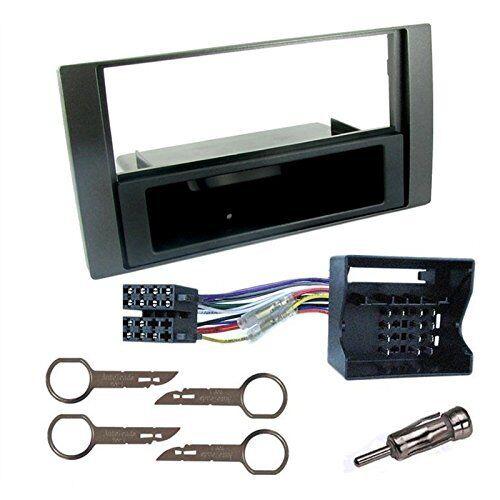 FOCU Kit montaggio autoradio 1 DIN con cassetto nero per FORD C-MAX FIESTA