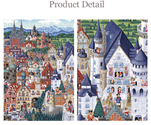 Jigsaw-Puzzles-500-Pieces-Art-Painting-Germany-Castle-in-the-Village-Small-Town
