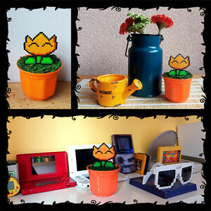 Fire flower super mario figures plant pot pixel art hama for 8 bit decoration
