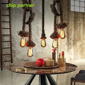 new arrival 0fd54 243e8 Details about 1PC Rope light Fittings Hemp Ceiling lamp Loft Retro  Chandelier E27 Base