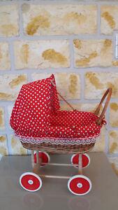 Puppenwagen aus Weide mit Kissen und Decke Spielzeug Korb Wagen Kinderwagen Neu