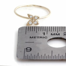 .10 Carat G/SI1 Round Diamonds Butterfly Knuckle Ring 1mm Real 14k Yellow Gold