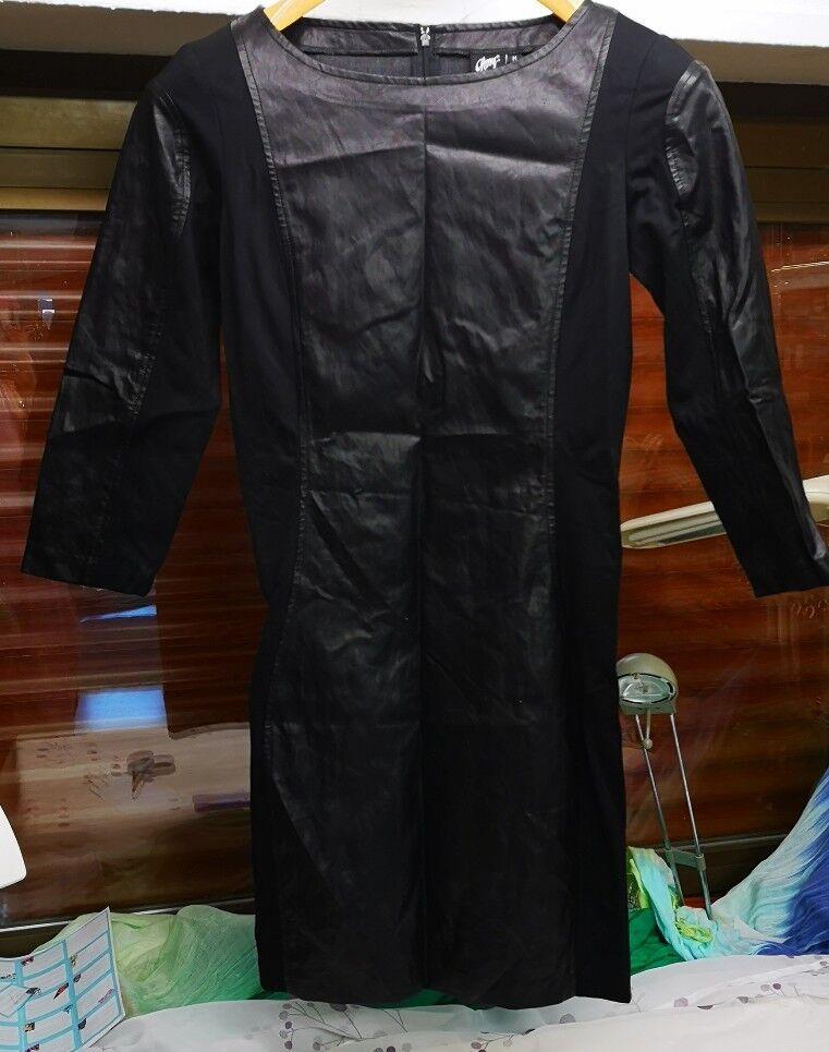 Kleid GIPSY   kombiniert Leder und  Stoff schwarz in M. Gr. 36.  38 Lederkleid