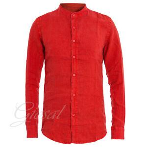 Camicia-Uomo-Collo-Coreano-Tinta-Unita-Rossa-Lino-Maniche-Lunghe-Casual-GIOSAL