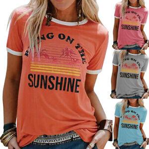 Womens-Blouse-Pullover-T-Shirt-Patchwork-Tee-Basic-Ladies-Sweatshirt-Tops-Summer