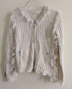ef9a4b8ffe Jonathan Simkhai Zip Cardigan Jacket Sz XS white cream fringe NWT ...