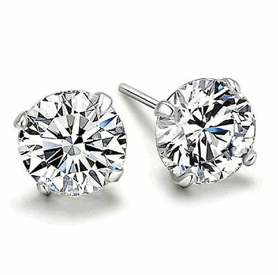 Fine Sterlings Silver With Crystal Cutting Element Stud Earrings AA
