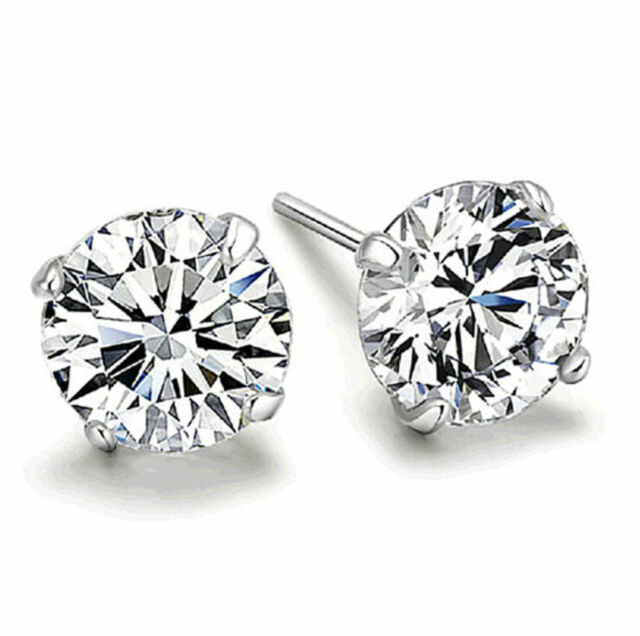 Fine Sterling Silver With Crystal Cutting Element Stud Earrings AA