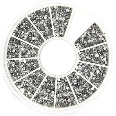 1800 Pcs 1.5mm Clear Nail Art Glitter Round Rhinestones for Tips w/ Wheel