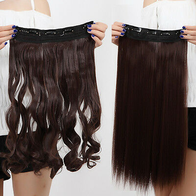 US Post Straight Curly/Wavy One Piece Clip In On Hair Extensions real quality ts