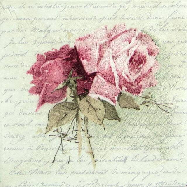 4x Paper Napkins for Decoupage Craft, Sagen - Vintage Rose Poem Lunch