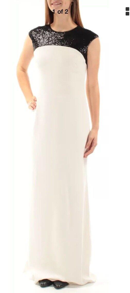 RALPH LAUREN  damen New 1395 Ivory Sequined Cap Sleeve Sheath Dress 10