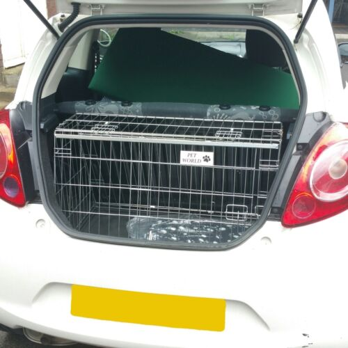 PET WORLD FORD KA 96-13 REG SLOPING CAR DOG CAGE BOOT TRAVEL CRATE PUPPY GUARD