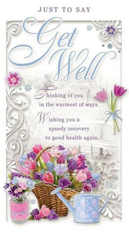 Get Well Soon Carte bouquet de fleurs panier Arrosoir Neuf Cadeau