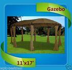 Deluxe Gazebo - 11'x17' Steel Frame Round Gazebo with Sidewalls - Beige