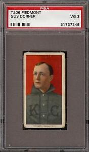 1909-11 T206 Gus Dorner Piedmont 350 Kansas City PSA 3 VG