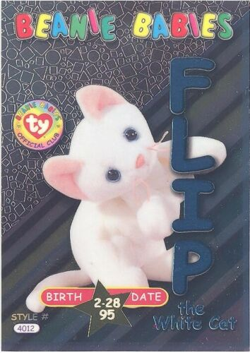 Series 3 Birthday - FLIP the White Cat -NM//M TY Beanie Babies BBOC Card TEAL
