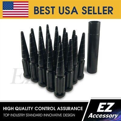 24 Pc Solid Steel Spike Lug Nuts KitBlack14x1.5For Toyota 5 Lug Tundra