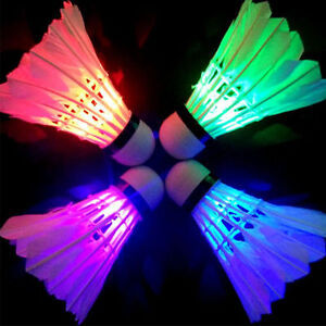 4Pcs Dark Night Colorful Glowing LED Badminton Shuttlecock Birdies Lighting BKY