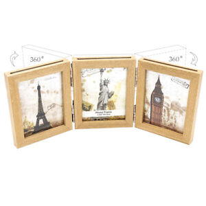 Lot QQ Holds 3 12 x 5 Photos Triple Picture Frame Hinged Trifold Oak Hill Vintage