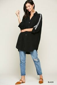 BLUHEAVEN-by-UMGEE-BLACK-Trim-Detail-Button-OVERSIZE-Tunic-Shirt-Top-Blouse-BHCS