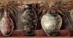 Vintage Ethnic Vases Flower Pottery Red Brown Dark Gray Kitchen Wallpaper Border 623467401656 Ebay