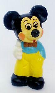 Mickey-Mouse-Chalkware-Piggy-Bank-Walt-Disney-Vintage-6-034-Rare-Yellow-amp-Blue