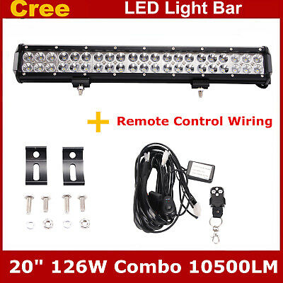 20inch 126W Ford LED Light bar combo beam with wiring kit ... led strip lights eBay