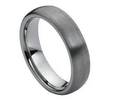 Tungsten Carbide Unisex Wedding Band 6MM Ring Brushed Polished Shiny Comfort Fit