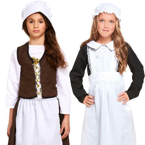 Poor Victorian Maid Girls Fancy Dress Dickens World Book Day Week Kids Costumes