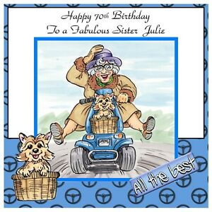 Ladies-Personalised-Handmade-Birthday-Card-Any-Age-Pensioner-Scooter-Funny