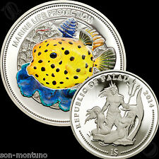 2014 Palau $1 - YELLOW BOXFISH Marine Life Protection SILVER PLATED Fish Coin