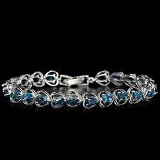 925 plata esterlina genuino London Topacio Azul Corazón Diseño Pulsera 7.75 pulgadas