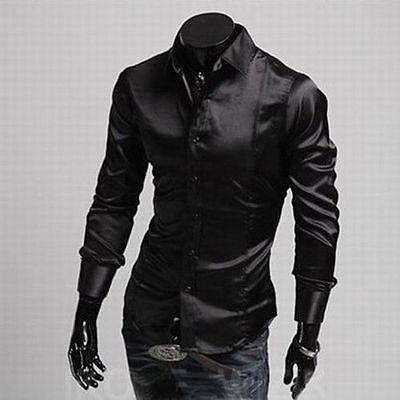 New Hot Slim Fit Luxury Silk Long Sleeve Shirt Men Casual Stylish Dress Shirts