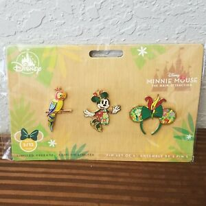 Disney-Parks-Minnie-Mouse-3-Pin-Set-The-Main-Attraction-May-Enchanted-Tiki-Room