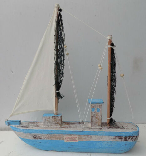 Veliero boat sailing wooden model vessel cm 51x8x53 marine sails in cotton