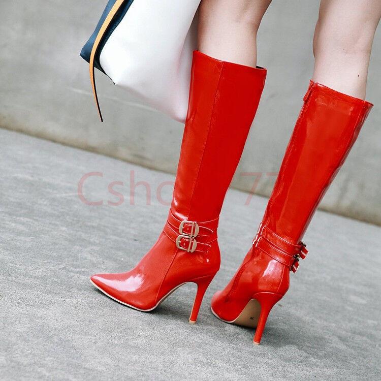 Damen Damen Knie schlanke High Heels Stiefel Schnalle Lackleder Schuhe Gr.34-48