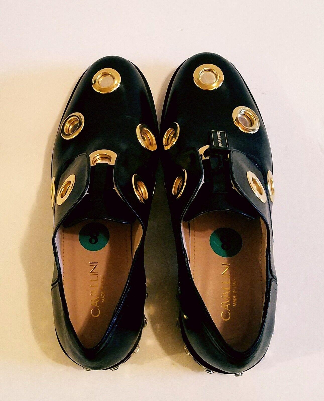 NWOB Cavallini Women's Women's Women's Leather Studded gold heel Loafers shoes Black sz 38.5 (8) 2b1fcf