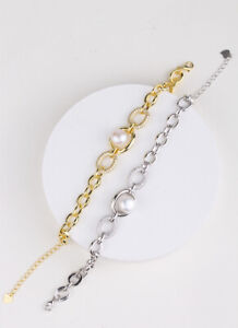 D14 Bracelet Anchor Chain Freshwater Pearls Zirconia 925 Sterling Silver Plated