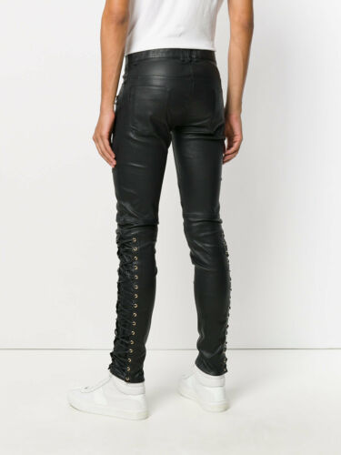 Men/'s Real Leather Laces Up Bikers Pants Laces Up Cowhide Leather Pants