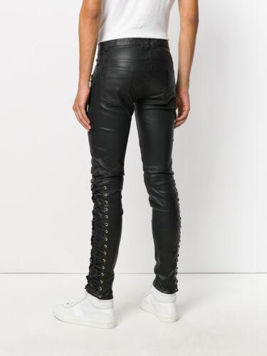 Men/'s Real Leather Laces Up Bikers Pants Laces Up Cowhide Leather Pants