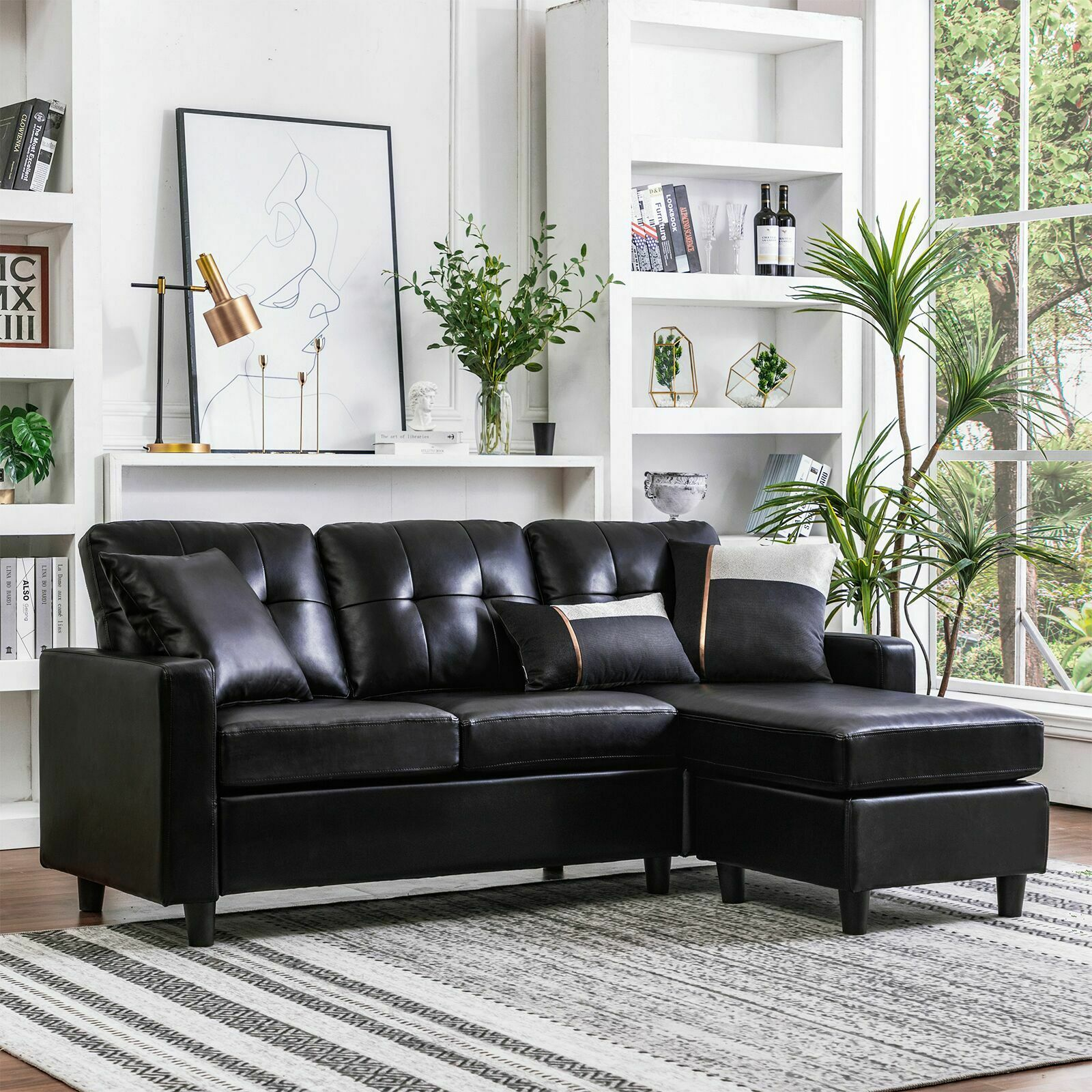 Picture of: Vogue Bonded Leather Reversible Chaise Sectional Sofa Brown For Sale Online Ebay