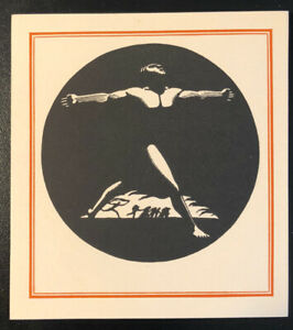 Rockwell-Kent-ex-Libris-Bookplate-Art-Deco-Nude-Man-Raised-Arms-Unused-WPA