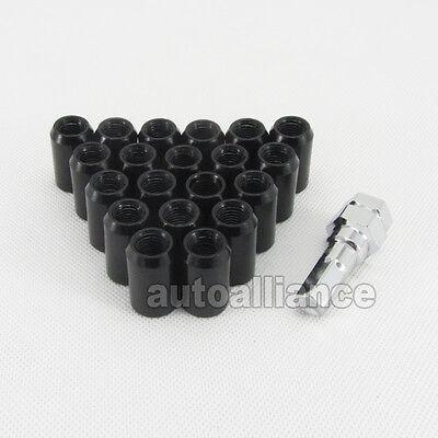 20x Black M12x1.5 Lightweight Wheel Rim Lug Nut Screw Long Open End JDM
