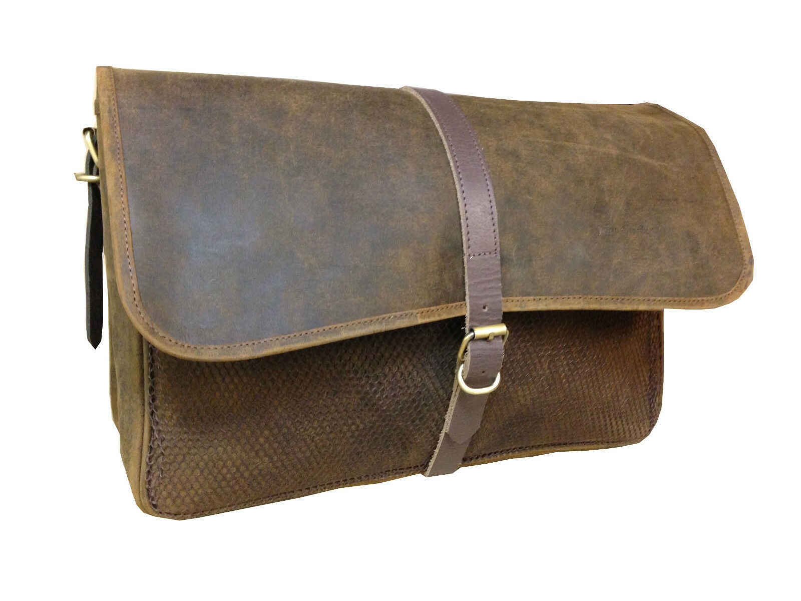 BROWN LEATHER SHOOTING GAME FISHING BAG WITH DETACHABLE LINING