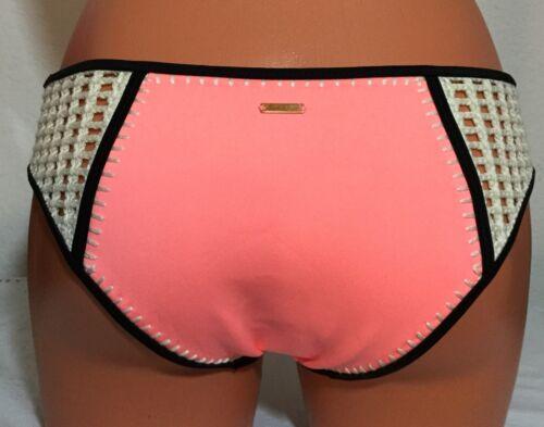 NEW Victorias Secret Light Salmon Swim Lg Surf Crochet Trim Bikini Bottom#3489