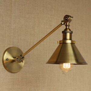 Antique-Gold-Long-Swing-Arm-Wall-Lamp-Illumination-Sconce-Light-Lighting-Fixtur